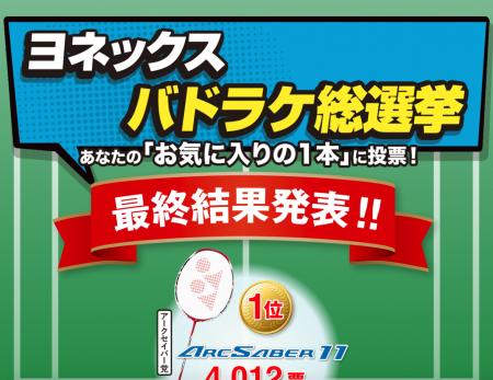 ヨネックス・バドラケ総選挙の結果発表!1位はどのラケット?
